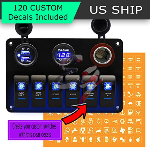 Frentaly LED Blue Light Waterproof Marine/Boat Car Switch Panel 6 Gang Indicator 5 pin On Off Rocker Switch Custom Decal Sticker Assembly (Blue)