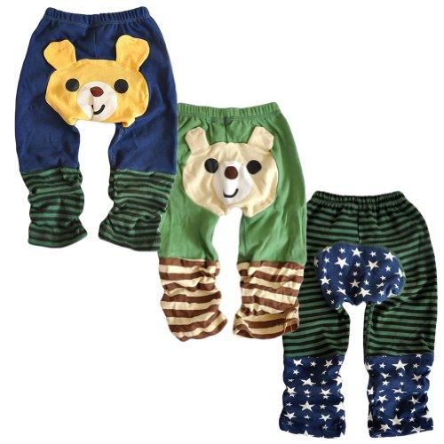 Set 3 LOCOMO Baby Boy Cartoon Animal Bear Striped Star Pant Medium FBT001BM (Wool Striped Trousers)
