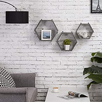 MyGift Rustic Gray Wood Hexagon Wall-Mounted Shadow Box Shelves, Set of 3