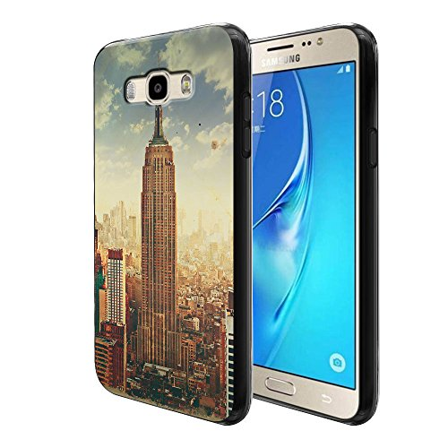 FINCIBO Galaxy J7 J710 Case, Flexible TPU Black Silicone Soft Gel Skin Protector Cover Case For Samsung Galaxy J7 J710 2nd 2016 - Vintage Photo Empire State (Vintage Empire State Building)