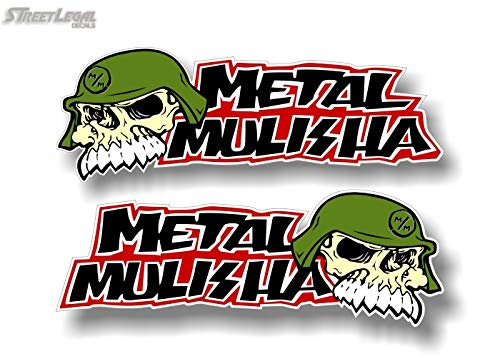"2 Metal Mulisha Full Color 9"" Trooper Skull Vinyl Decals FMX Army Helmet Hoodie Stickers"