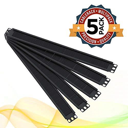 1U Brush Panel Horizontal Grommet Strip Server Rack Cable Management Panel by CableRack (5-Pack) ()
