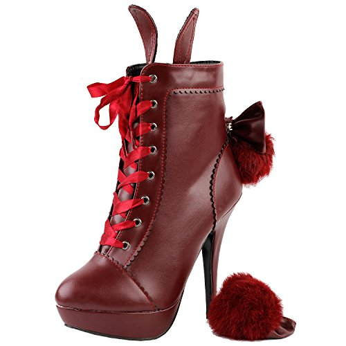 Bootie LF30311 Bow Stiletto Style Lolita Ankle Show up Story Platform Boot Red Lace Rabbit Fur X7qOq8