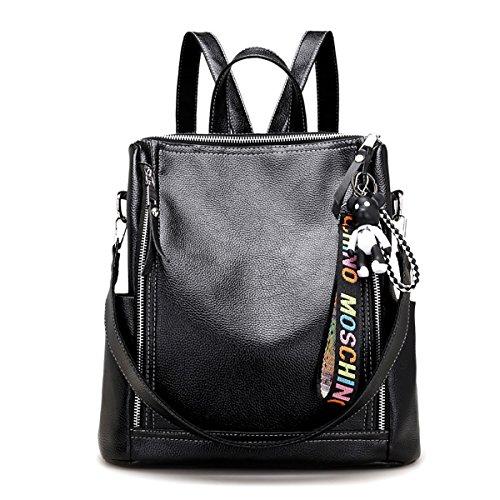 Sdinaz Womens Fashion Backpack Pu Leather Shoulder Bag Bag Uses Three Black Shopping Trip