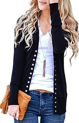 NENONA Women's V-Neck Button Down Knitwear Long Sleeve Soft Basic Knit Snap Cardigan Sweater