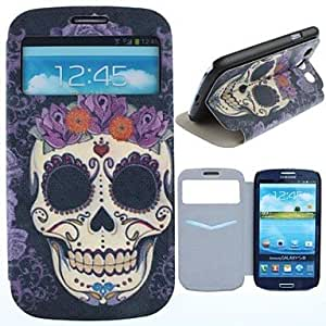 RC - Rose Skulls Pattern PU Leather Full Body Case with Card Slot for Samsung Galaxy S3 I9300