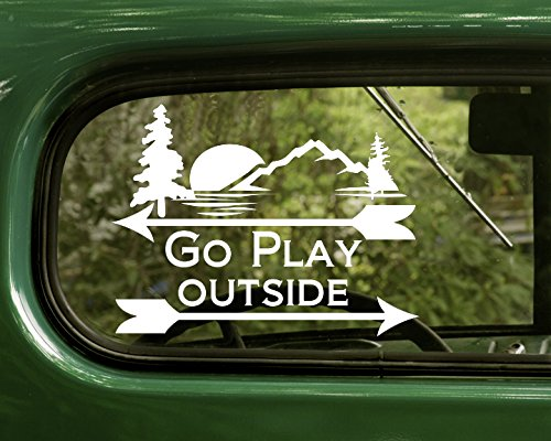 Wilderness Jeep Bumper - 2 Go Outside And Play Nature White Decal Sticker For Window Car Truck Jeep Laptop Bumper Rv