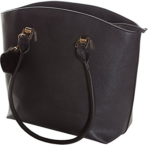 Handbag By Pier 17 - Lightweight Women's Tote Made From Faux Leather - Long Durable Straps With Metal Grommets - Roomy Compartment To Fit Your Essentials - Inner Backing To Keep Bag In Shape (BLACK) - Exclusive Leather Products Ladies Handbags