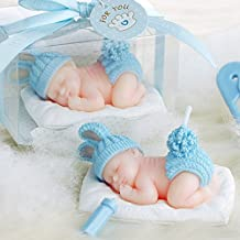 Adorable Mini Baby Birthday Candle Baby Shower Favors/Giveaways (in Gift Box) Cake Topper Christmas Gift (BLUE)