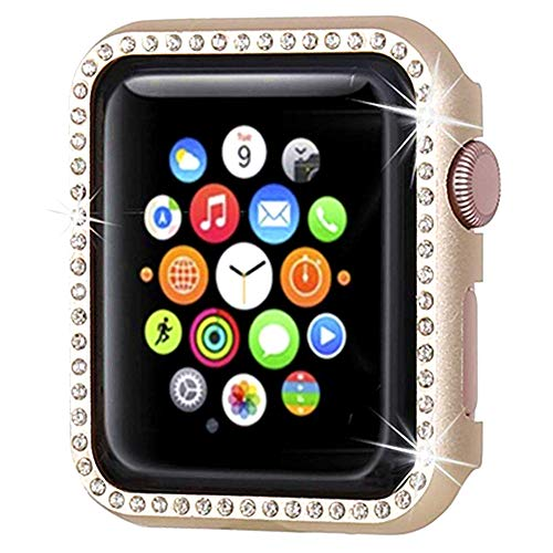 (Watch Case for Apple Watch Series 4 40mm Bling Rhinestone Diamond-Mounted Aluminum Frame Shockproof Protector Case Cover (Gold))