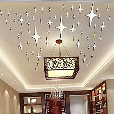 Alrens_DIY(TM)8.5cm * 50pcs Twinkle Stars Ceiling Decor Parlor Crystal Reflective DIY Mirror Effect 3D Wall Stickers Home Decoration