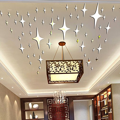 Alrens_DIY(TM)8.5cm * 50pcs Twinkle Stars Ceiling Decor Parlor Crystal  Reflective DIY Mirror Effect 3D Wall Stickers Home Decoration (Silver)