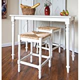 24'' Hawthorne Counter Stool with Rush Seat in Antique White