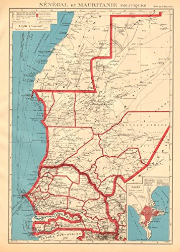 Francés África Occidental. Senegal & mauritanie/Mauritania. Dakar Plan - 1938 - Old Antiguo Mapa Vintage - Juego de funda nórdica Mapas de África Occidental ...