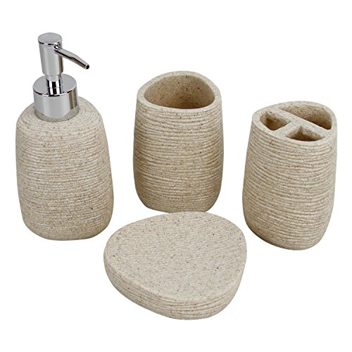 Bathroom Sand (Evelyne GMT-10004 Resin Sandstone Bathroom Amenity Accessory Set included Dispenser, Soap Tray, Toothbrush Holder and Tumbler (Beige))