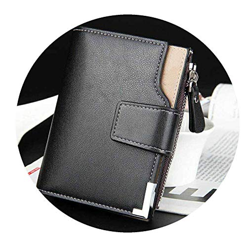 Price comparison product image Wallets men's leather wallets purse short clutch leather wallet mens money bag top quality, Black