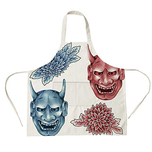 3D Printed Cotton Linen Big Pocket Apron,Kabuki Mask Decoration,Different Colored Masks of Japanese Demoness Ornate Flowers Art Decorative,Blue Red White,for Cooking Baking Gardening