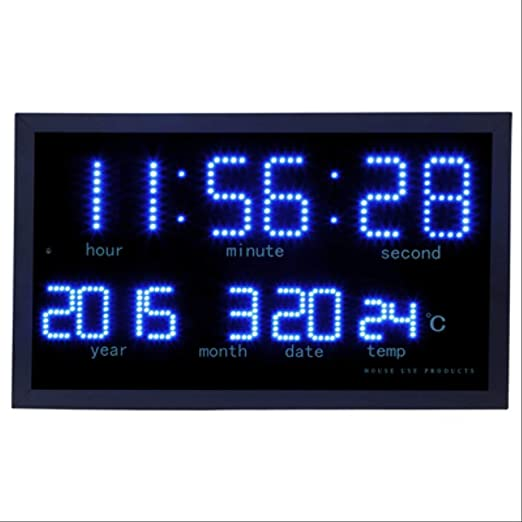 Rioneon Matriz de Reloj electrónico Matriz led Digital Reloj de Pared Grande salón decoración Moderna electrónica led Calendario Reloj Home termómetro Reloj Azul: Amazon.es: Hogar