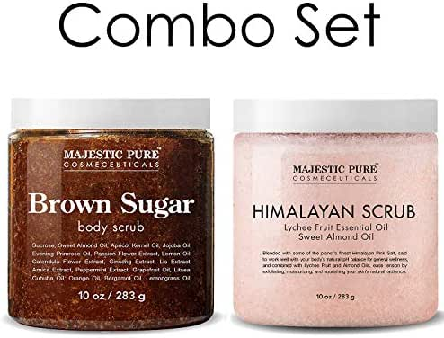 Majestic Pure Himalayan Salt Body Scrub & Brown Sugar Scrub Set – All Natural Scrubs for Skin Care – Exfoliate and Moisturize, Reduce the Look of Spider Veins, Eczema, Stretch Marks, Acne & Cellulite