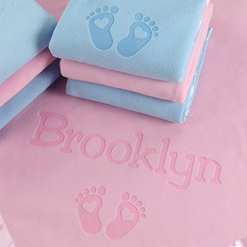 PERSONALIZED NEWBORN GIFTS FOR BABY GIRLS, BOYS, OR PARENTS - (36 x 36 inch) Satin Trim Custom Blanket with Name Plus Hearts and Feet Design - Add Birth Date, Weight (Customs For Babies)