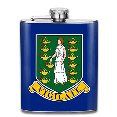 (X-JUSEN British Virgin Islands Flag 7Oz Hip Stainless Steel Flask, Jacket Pocket Flask, Classic Liquor/Wine Drinking Bottle)