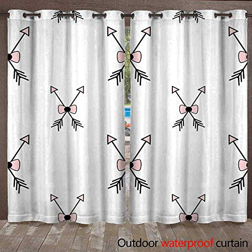 Home Patio Outdoor Curtain Cute Pink White Black Seamless Vector Pattern Background Illustration with Arrow and Bow Ribbon W72 x L108