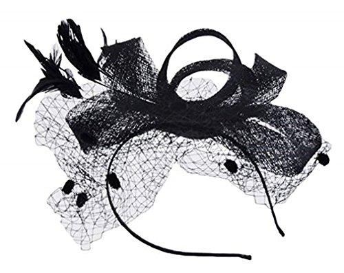 Summersum Bow Handmade Feather Tiara Retro Banquet Hemp hat Linen Ladies Hair Accessories Cap (Black)