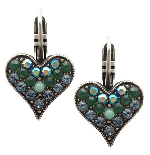 Mariana Swarovski Crystal Silver Plated Earrings Blue Green Mix Heart 1316 Mediterranean (Mediterranean Blue Mosaic)