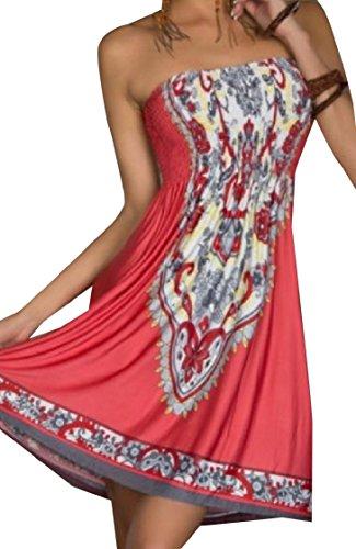 Boho Printed Summer Women Coolred Watermelon Word Flower Shoulder Short Red Dress RxqAEwB4