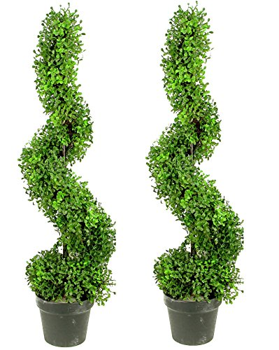 Admired By Nature 2 x 3' Aritificial Boxwood Leave Spiral Topiary Plant Tree in Plastic Pot, Green/Two-Tone by Admired By Nature