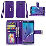 note 2 wallet case - Galaxy Note 5 Case, IZENGATE [Classic Series] Wallet Case Premium PU Leather Flip Cover Folio with Stand for Samsung Galaxy Note 5 (Purple)