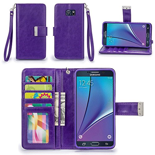 Galaxy Note 5 Case, IZENGATE [Classic Series] Wallet Case Premium PU Leather Flip Cover Folio with Stand for Samsung Galaxy Note 5 (Purple)