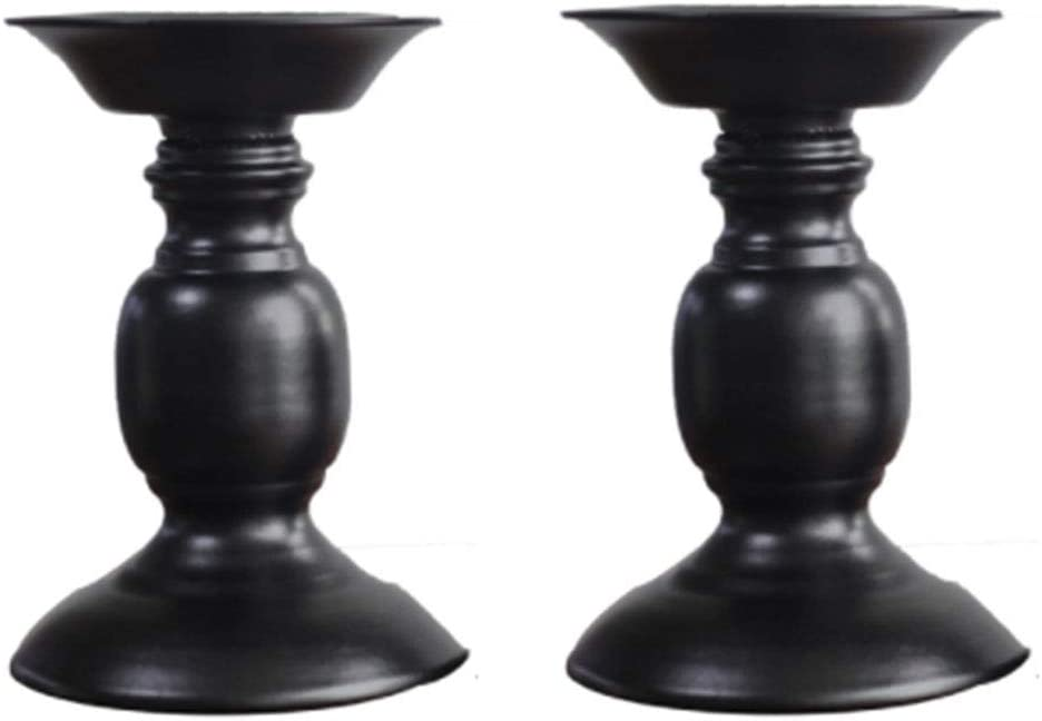 Ornament for Birthday S Black Metal Pillar Candle Holders Bar Decorative Wedding and Home D/écor Black Simple Retro Iron Candlestick Holders Stand for LED and Pillar Candles