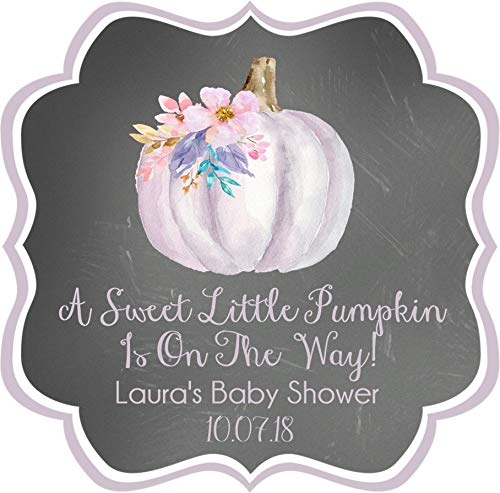 Girls Lavender and Pink Fall Pumpkin Baby Shower Favor Stickers, Girls Fall Baby Shower Favor Tags, Girls Fall Pumpkin Baby Shower Decorations, Girls Fall Pumpkin Baby Shower Supplies