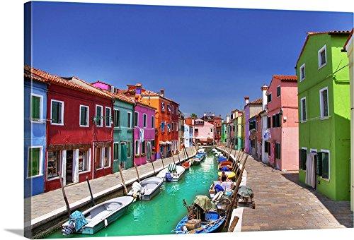 Canvas On Demand Premium Thick Wrap Canvas Wall Art Print Entitled Burano Island  Italy 48 X32
