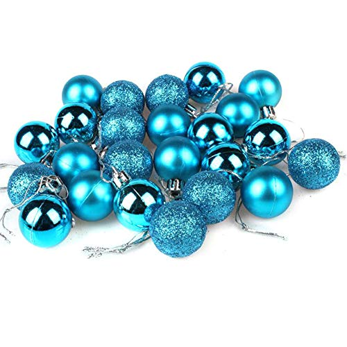 AKOAK 24ct Christmas Ball Ornaments Multicolor Christmas Tree Decoration Balls Holiday Wedding Party Decoration Hanging Hole Short Line,Diameter 30mm(1.18