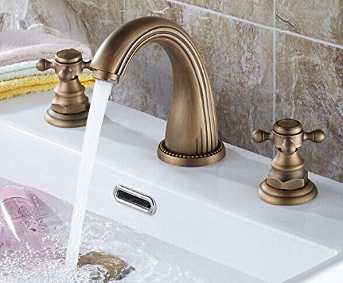 Ddlli Bathroom Faucets for Kitchen Sink Faucet Shower Filler F6 Hot and Cold Fittings Double Handle Washbasin Tap Antique Three Part Three Hole Basin Mixer Tap Hot and Cold Bathroom Cabinets
