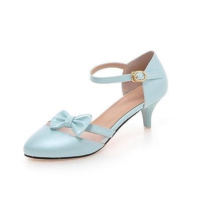Damen Rein PU Leder Mittler Absatz Rund Zehe Schnalle Pumps Schuhe, Blau, 39 VogueZone009