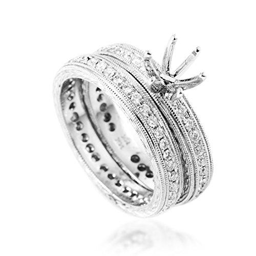 Mounting Gold Diamond (Natalie K Women's 14K White Gold Diamond Bridal Mounting Set SM4-071962W)