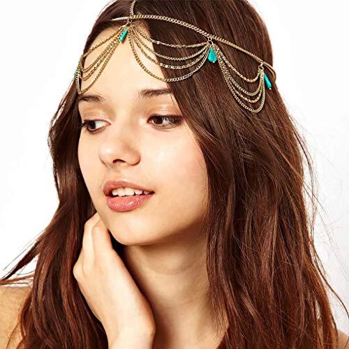 Leiorthrix Turquoise Head Chain Boho Hair Jewelry Layered Headpiece Vintage Wedding Hair Accessories ()