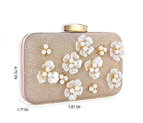 Party Body Handbag for Design Bags Clubs Clutch Gold Bags Cross Wedding Women's Wedding Beaded Evening Floral 4z70w7