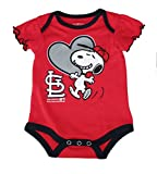 St. Louis Cardinals Love Snoopy At Bat Infant Size 0-3 Months Onesie / Bodysuit - Ruffled Sleeves Red Creeper
