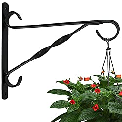 Hanging Plants Bracket 10'' Wall Planter Hook Flower Pot Bird Feeder Wind Chime Lanterns Hanger Patio Lawn Garden for Shelf Shelves Fence Screw Mount against Door Arm Hardware