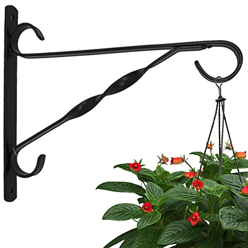AMAGABELI GARDEN & HOME Hanging Plants Bracket 10'' Wall Planter Hook Flower Pot Bird Feeder Wind Chime Lanterns Hanger Patio Lawn Garden for Shelf Shelves Fence Screw Mount against Door Arm Hardware ()