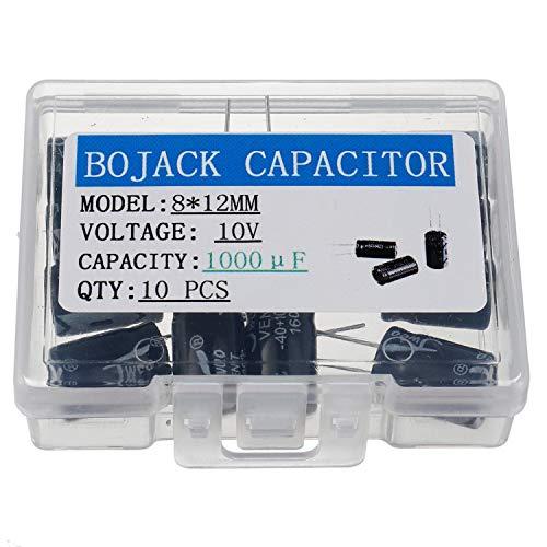 BOJACK 8X12mm 1000uF 10V 1000MFD 10Voltage ±20% Aluminum Electrolytic Capacitors(Pack of 10 Pcs)