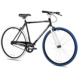 Takara Sugiyama Flat Bar Fixie Bike, Black/Blue, Large/58cm Frame