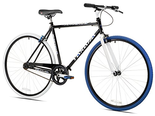 Takara Sugiyama Flat Bar Fixie Bike, Black/Blue, Medium/53cm
