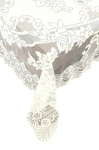 Ritz 100% Polyester Easy Care Linen Lace Tablecloth, Oblong Rectangle, 53 by 73-inch (135-cm by 185-cm), Ivory -