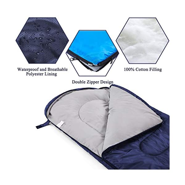 YOUMAKO Backpacking Sleeping Bag for Adults & Kids - Lightweight, Waterproof,Comforable for 4 Season Hiking, Traveling, Camping 5