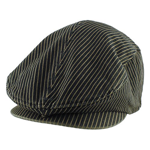 Morehats Cotton Jean Stripe Flat Cap Cabbie Hat Gatsby Irish Hunting Newsboy Hunting Beret - Dark Blue